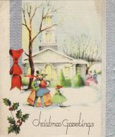 1930's Christmas Card Victorian Family Church Holly Snow - Bateaux