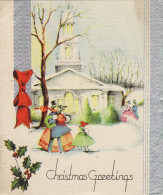1930's Christmas Card Victorian Family Church Holly Snow - Boats