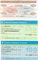 67 N° 3 MINIASSEGNI BANCA POPOLARE DI LECCO E ISTITUTO CENTRALE DELLE BANCHE POPOLARI ITALIANE - [10] Assegni E Miniassegni