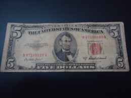 1953 A USA RARE 5 DOLLARS ( RED SEAL )