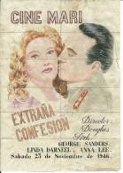G177- *SPAIN VINTAGE POSTER*ENTRADAS DE CINE*CINEMA TICKETS*EXTRA�A CONFESI�N*CINE MARI*1946*