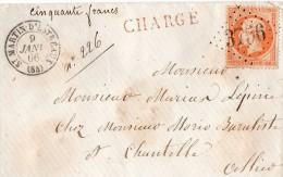 TB 289 - TB Type Napoléon III Sur Lettre Chargée OB SAINT - MARTIN - D ´ ESTREAUX  Pour CHANTELLE - Postmark Collection (Covers)