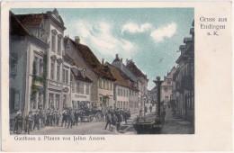 Gruss Aus Endingen Am Kaiserstuhl Gasthaus Zum Pfauen Belebt Kr Emmendingen Pferde Kutsche 22.7.1908 Gelaufen - Endingen