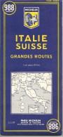 CARTE-ROUTIERE-MICHELIN-N °988-1961-ITALIE-SUISSE-GRANDES ROUTES-TB E-COMME-NEUF - Cartes Routières