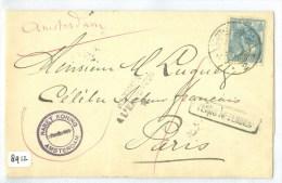 BRIEFOMSLAG Uit 1907 Van AMSTERDAM Naar PARIJS EN RETOUR AFZENDER  (8912) - Periode 1891-1948 (Wilhelmina)