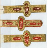 3 Alte Zigarrenbanderolen - Bauchbinden Der Zigarrenmarke Extra Flor Fine - Bauchbinden (Zigarrenringe)