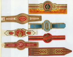 7 Alte Zigarrenbanderolen - Bauchbinden Der Zigarrenmarken F..... - Bauchbinden (Zigarrenringe)