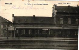 BRABANT 1 CP Ramillies  Station Et Le  Restaurant Huvenne   Edit J Leleu - Ramillies
