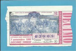 LOTARIA NACIONAL - 10.ª EXT. - 07.09.1990 - AS VINDIMAS - PALÁCIO DE RIO FRIO - Portugal - 2 Scans E Description - Lottery Tickets