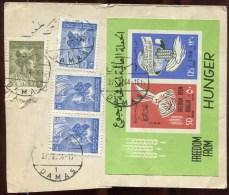 72851 - 4 TP + 1 Bloc&feuillet Cad DAMAS  2 1964 S/étiquette De Colis Avec Passage En Douane Pour La FRANCE B/TB - Syrië