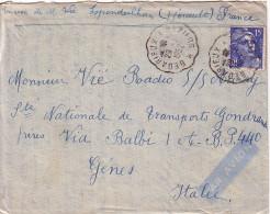 """GANDON - 15F POUR LE RADIO DU PAQUEBOT """"AURAY"""" DES MM A GENES ITALIE - DE ESPONDEILHAN HERAULT-CONVOYEUR BEDARIEUX A BEZ - Marcofilie (Brieven)"""