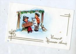 Carte Mignonette Bonne Annee Garçon Accordeon - Neujahr