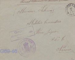 Censored Cover From Administration Communale D'Hermeton Meuse P/m Hastiere Lavaux 27.10.1916 With Cachet On Back From Na - Militaria