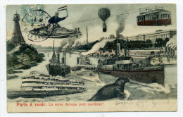 75.Surréalisme.Paris à Venir.La Seine Devenue Port Maritime. - France