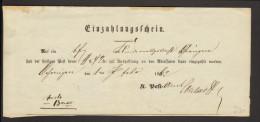 Württemberg Einzahlungsschein Von 1862 Aus Öhringen - Wuerttemberg