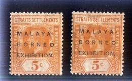 1922 Malaya Borneo Exhibition Straits Settlements Stamps 5 CENTS X 2 PCS.  - KGV (S-39) - Malaysia (1964-...)