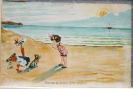 Litho Illustrateur SUZ Fille Fillette Parapluie Plage Et Chien Feras Tu Attention Voyagé 1915 Timbre Vers Hamoir 224 B - Autres Illustrateurs
