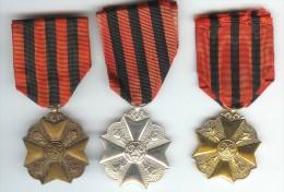 Belgique 3 Médailles Civiques OR ARGENT BRONZE - Belgio