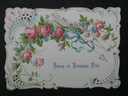 Ref3585 Carte Gaufrée Et Dentelée Bonne Et Heureuse Fête - Arc Avec Flèche Et Roses - Holidays & Celebrations