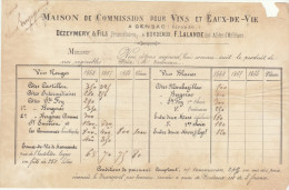 Gironde, Bordeaux/ Gensac Prix Courant Vins 1868 Dézeymery & Fils, F. Lalande - Alimentare