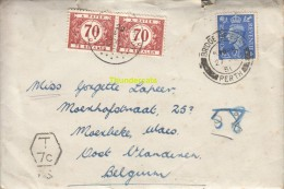 OUDE BRIEF VAN SCHOTLAND SCOTLAND PERTH  NAAR MOERBEKE WAAS TAX  1950 - Belgique