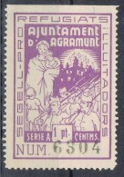Viñeta AGRAMUNT (Lerida) 1 Pta, Variedad Punto Central Despues Pt, Local Guerra Civil ** - Viñetas De La Guerra Civil