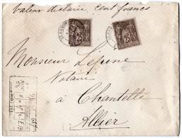 TB 297 - TB Type Sage Sur Lettre Chargée OB CLERMONT  Pour CHANTELLE - Marcophilie (Lettres)