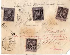 TB 298 - TB Type Sage Sur Lettre Chargée OB PARIS Rue De STRASBOURG   Pour URBISE - Marcophilie (Lettres)