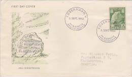 VIKINGS - RUNIC INSCRIPTION IN STONE -  DENMARK 1953 FDC (1) HISTORY ARCHEOLOGY - Archeologie