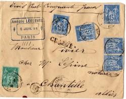 TB 299 - TB Type Sage Sur Lettre Chargée OB PARIS    Pour  CHANTELLE - Marcophilie (Lettres)