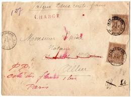 TB 303 - TB Type Sage Sur Lettre Chargée OB Chargements SAINT - ETIENNE  Pour  PARIS - Marcophilie (Lettres)