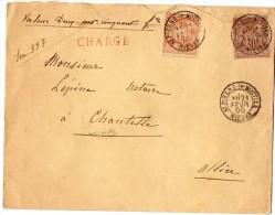 TB 307 - TB Type Sage Sur Lettre Chargée OB SAINT - PIERRE - Le - MOUTIER  Pour  CHANTELLE - Marcophilie (Lettres)