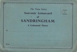 Old SANDRINGHAM Norfolk SOUVENIR LETTERCARD 6 Colour Views Postcard Gb - England