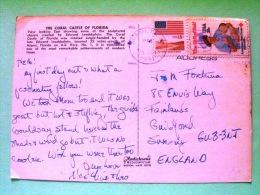 "USA 1981 Postcard ""Coral Castle - Florida"" To England - Flag - Red Cross - Nurse And Baby - Etats-Unis"