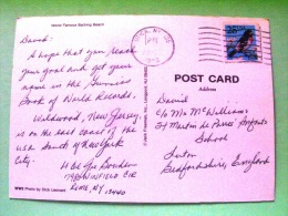 "USA 1988 Postcard ""beach Wildwoods"" Utica To England - Bird - Lettres & Documents"