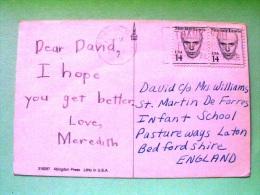 """USA 1988 Postcard """"white Bear"""" To England - Sinclair Lewis - Etats-Unis"""