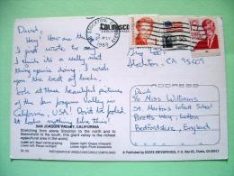 "USA 1988 Postcard ""San Joaquin Valley - Grape Vineyard - Wine"" To England - Flag - Wendell Holmes - Margaret Mitchell - United States"