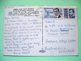 "USA 1988 Postcard ""Eternal Light Peace Memorial - Gettysburg"" To England - Francis Parkman - Verville And Plane - Etats-Unis"