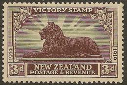 NZ 1920 3d Victory SG 456 HM #DJ54 - Unused Stamps