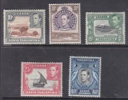 Kenya Uganda Tanganyika, George VI 1952, New Values & Colours, 5c, 15c,25c,30c,40c 5censt  MH * - Kenya, Uganda & Tanganyika