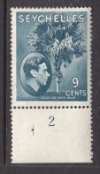 Seychelles, George VI 1941, 9 Cents, Grey-blue, SG 138a,  MH * With Selvedge - Guide + With Hole And Plate No ...2 - Seychelles (...-1976)