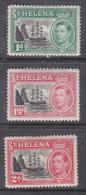 Saint Helena, George VI 1949, 1d,  11/2d, 2d, MH * - Isola Di Sant'Elena