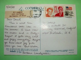 "USA 1988 Postcard ""Golden Gate Bridge In Fog"" To England - Flag On White House - Wendell Holmes - Margaret Mitchell - Lettres & Documents"