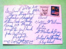 "USA 1988 Postcard ""Stoney Creek"" To England - Fireworks - Sinclair Lewis - Lettres & Documents"