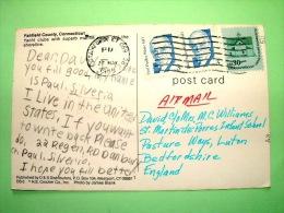 "USA 1988 Postcard ""yacht Club Fairfield"" To England - Dudley White - Schools - Etats-Unis"