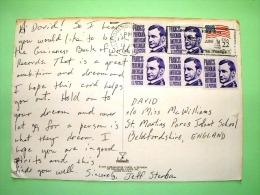 "USA 1988 Postcard ""girl With Fruit Basket"" To England - Flag - Francis Parkman - Handicapped Slogan - Stati Uniti"