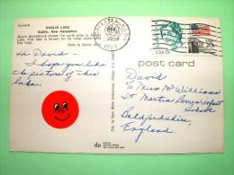 "USA 1988 Postcard ""Dublin Lake - New Hampshire"" To England - Flag - Rachel Carlson 8silent Spring) - Lettres & Documents"