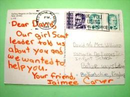 "USA 1988 Postcard ""sailing Boat Regatta - Ocean County"" To England - Belva Ann Lockwood - Francis Parkman - Lettres & Documents"