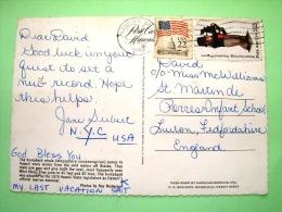 "USA 1988 Postcard ""Whales Out Of Maui - Hawaii"" To England - Flag - Folk Art - Wood Nautical Figure - Lettres & Documents"