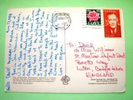 "USA 1988 Postcard ""rainbow On San Francisco And Golden Gate Bridge"" To England - T.S. Eliot - Rose Flower - United States"